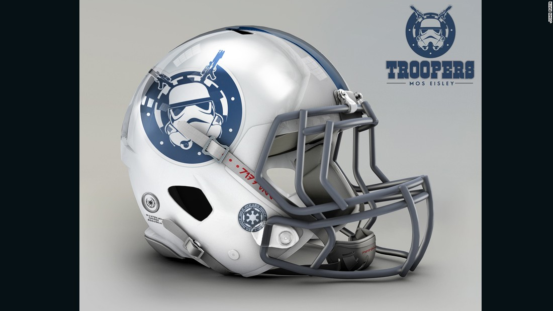 "The dusty space port of Mos Eisley, on planet Tatooine, looks nothing like Indianapolis, but the general feel of the <a href=""http://www.colts.com/"" target=""_blank"">Colts</a> helmet stays intact in this new design dominated by the classic Stormtrooper figure."