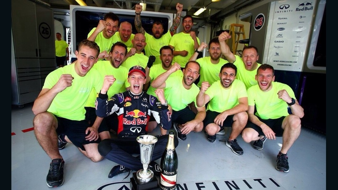 "Red Bull Racing's Dany Kvyat takes us back to the track for his photo taken at last year's Hungarian Grand Prix. ""One of the best days of my life!,"" the Russian racer explains. ""First F1 podium and hopefully one of many to come. My team were just as happy as I was! Thank you to all of them for their hard work -- I took this picture with the time release so we can all be in it."""