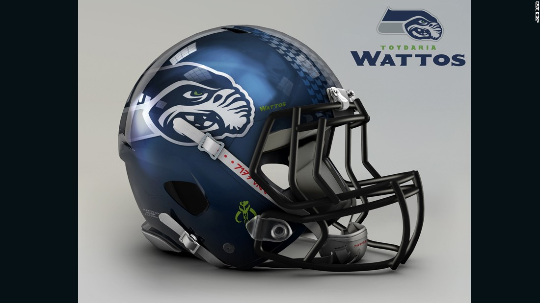 "The menacing livery of the <a href=""http://www.seahawks.com/"" target=""_blank"">Seattle Seahawks</a> helmet is perfectly preserved in their transition to Toydaria Wattos: the flying junk dealer who enslaves Anakin Skywalker as a boy might not be as a graceful a sight in the sky, though."