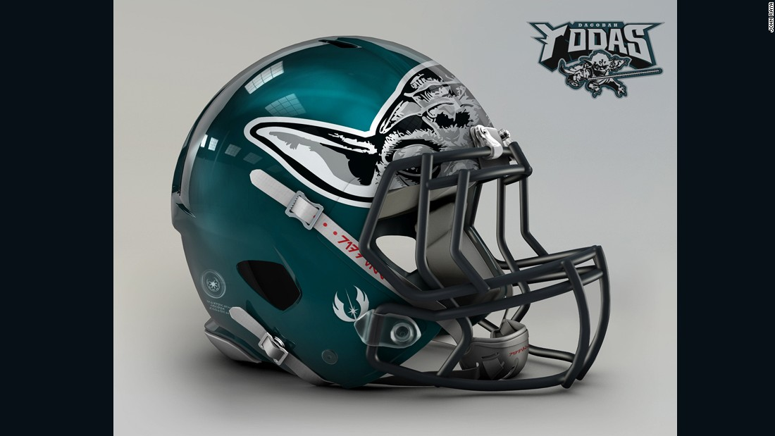 "The<a href=""http://www.philadelphiaeagles.com/"" target=""_blank""> Philadelphia Eagles</a> helmet design posed a challenge, brilliantly solved by using Yoda's ears in place of the eagle's wings."