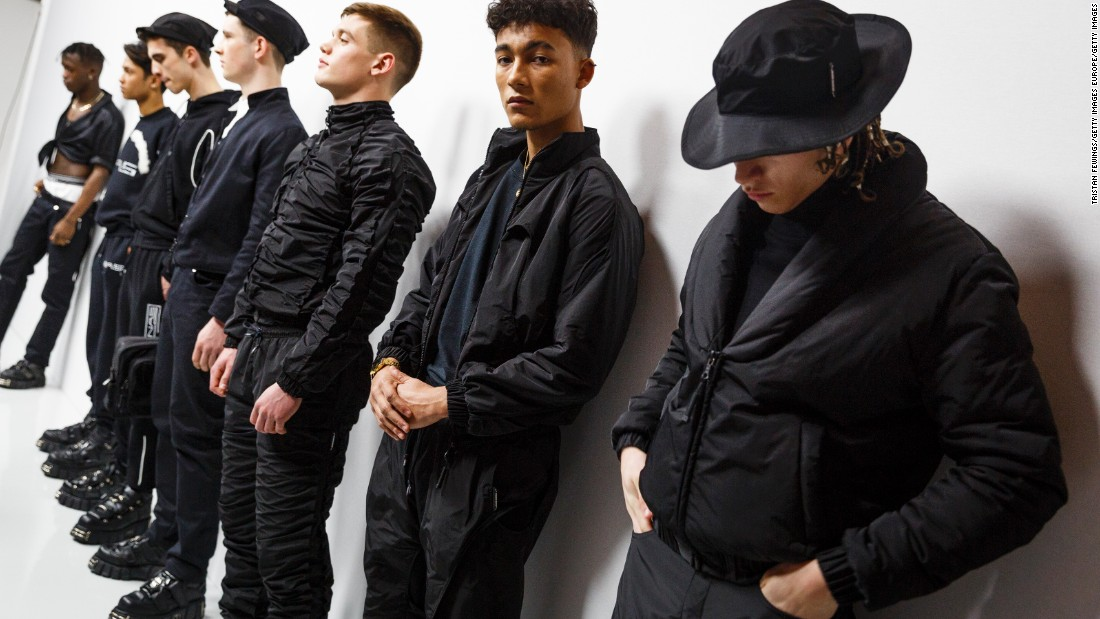 Nasir Mazhar's all-black collection was inspired by club gear, fetish wear and goth fashion.