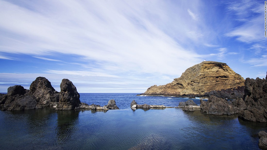 At Porto Moniz on the west coast, rings of sea-cooled lava have been turned into one of the world's weirdest and most beautiful swimming baths.