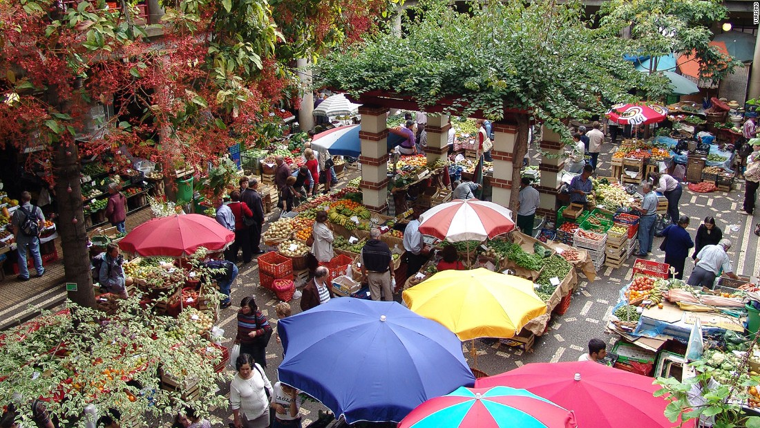 Funchal's farmers' market is a spectacle offering a cornucopia of exotic produce. Island bananas are packed with flavor and there's a baffling variety of passion fruit.