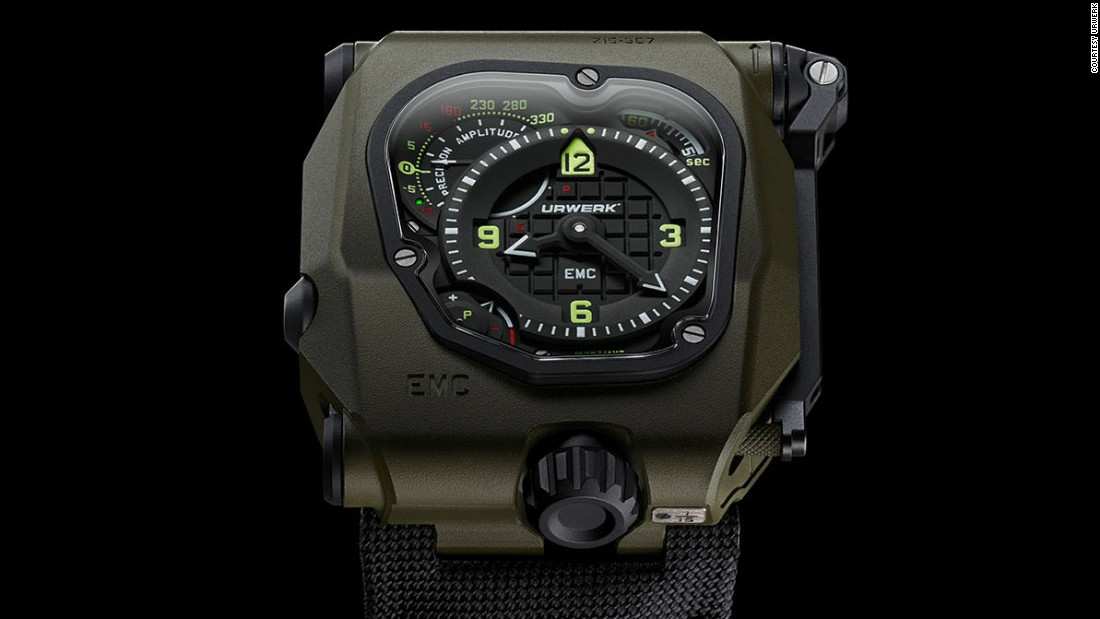 "According to <a href=""http://www.urwerk.com/en/"" target=""_blank"">Urwerk's</a> website, ""The new EMC enables its wearer to both monitor its precision as worn on the wrist as well as the amplitude of the watch."""