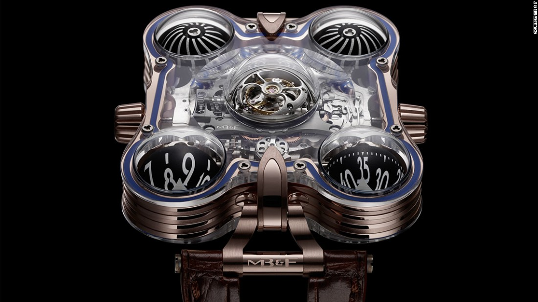 "The unique Horological Machine N°6 SV (Sapphire Vision) has four crystal spheres, two of which turn to reflect the hour and minute respectively. Maximilian Busser, CEO of <a href=""http://www.mbandf.com/"" target=""_blank"">MB&F</a>, calls it a ""piece of art that also happens to tell the time""."