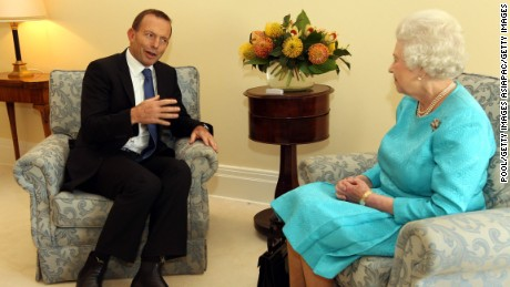 Former Australian Prime Minister Tony Abbott with the Queen in 2011.