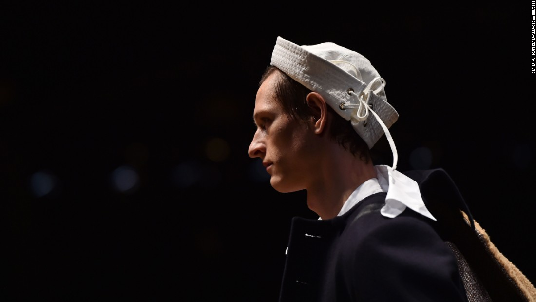 Miuccia Prada brought boyhood in full force with sailor hats, shorts and race car-covered jumpers.