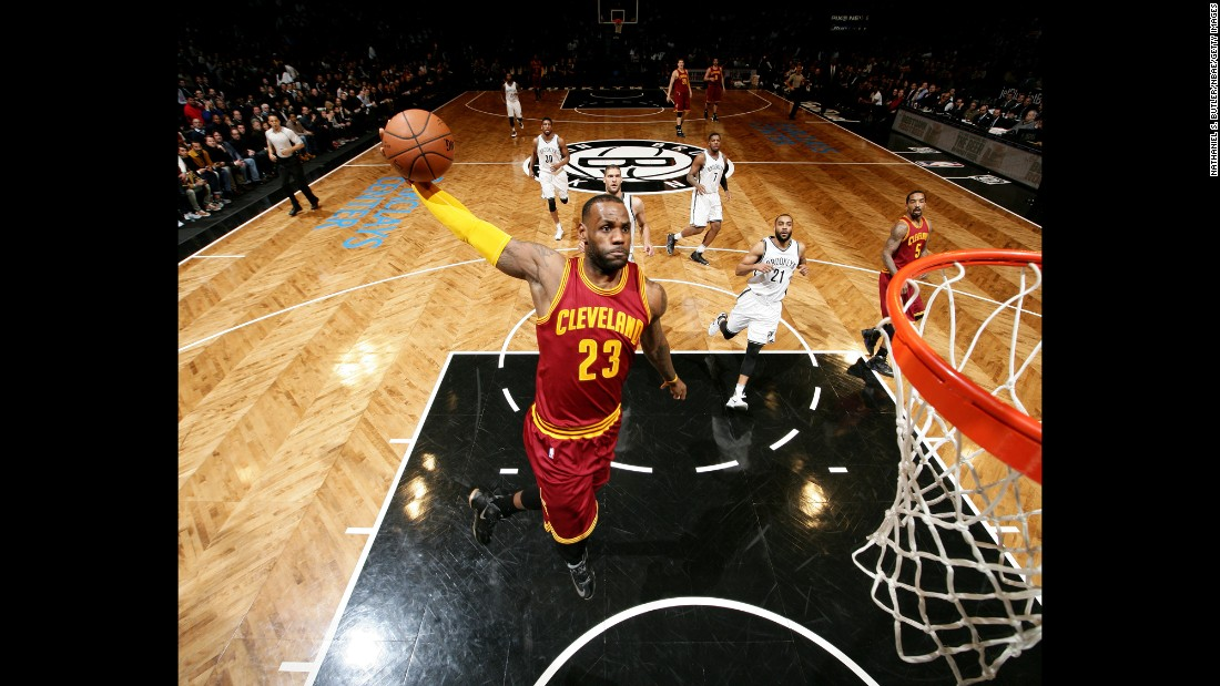 LeBron James goes up for a dunk during an NBA game in Brooklyn, New York, on Wednesday, January 20.