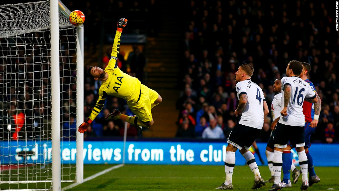 Tottenham goalkeeper Hugo Lloris makes a save against Crystal Palace during a Premier League match in London on Saturday, January 23. Tottenham won the match 3-1.