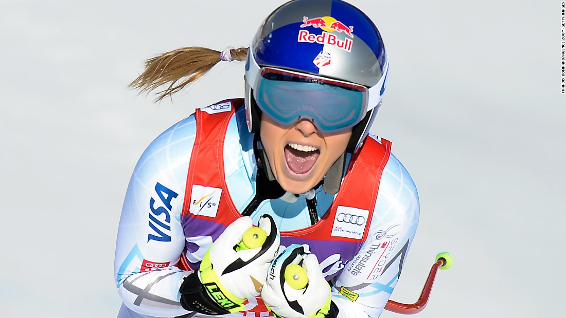 "American skier Lindsey Vonn celebrates after a downhill run in Cortina d'Ampezzo, Italy, on Saturday, January 23. Vonn finished in first for her 74th World Cup victory. She <a href=""http://www.cnn.com/2016/01/23/sport/lindsey-vonn-downhill-cortina-record-37/index.html"" target=""_blank"">added a super-G win</a> the next day."
