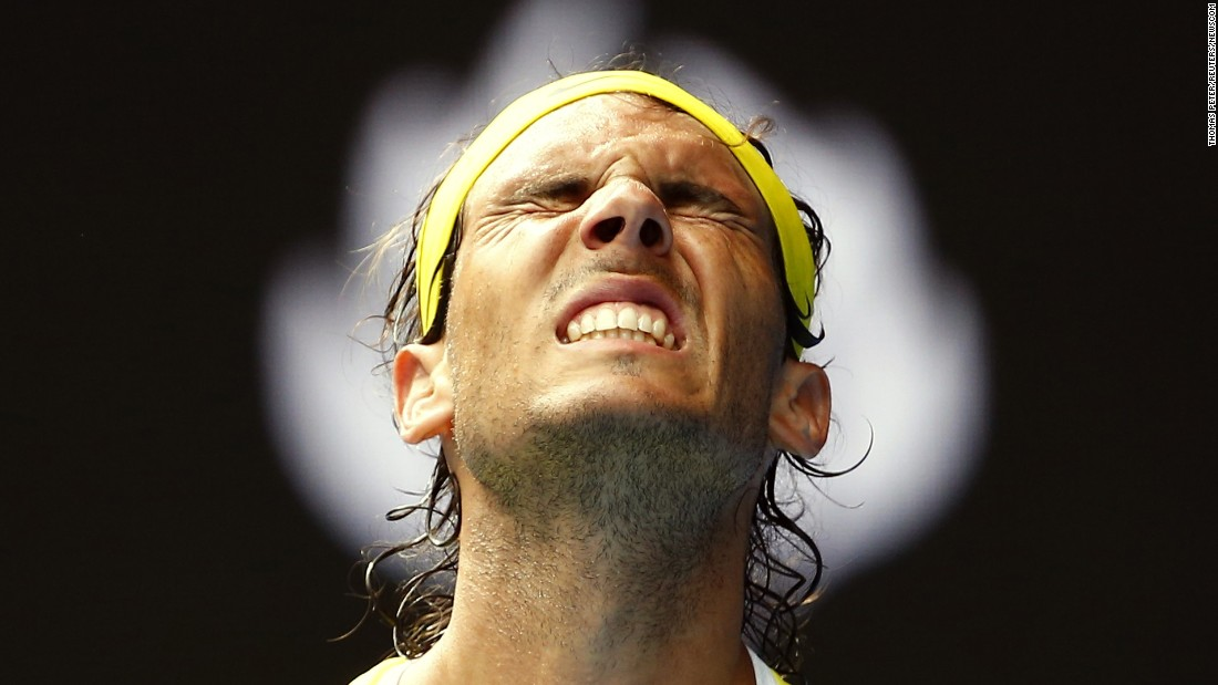 "Rafael Nadal grimaces during <a href=""http://www.cnn.com/2016/01/19/tennis/rafael-nadal-australian-open-2016/index.html"" target=""_blank"">his first-round loss at the Australian Open</a> on Tuesday, January 19. Nadal lost to fellow Spaniard Fernando Verdasco in five sets."