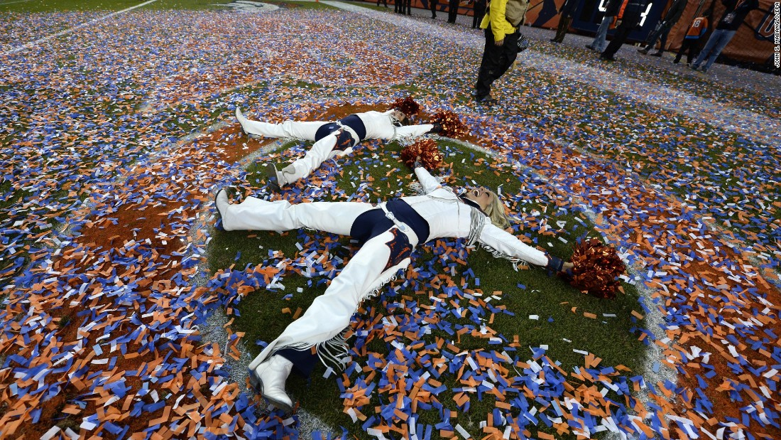 "Denver Broncos cheerleaders make ""snow angels"" in confetti after the AFC Championship game on Sunday, January 24. <a href=""http://www.cnn.com/2016/01/19/sport/gallery/what-a-shot-sports-0119/index.html"" target=""_blank"">See 39 amazing sports photos from last week</a>"