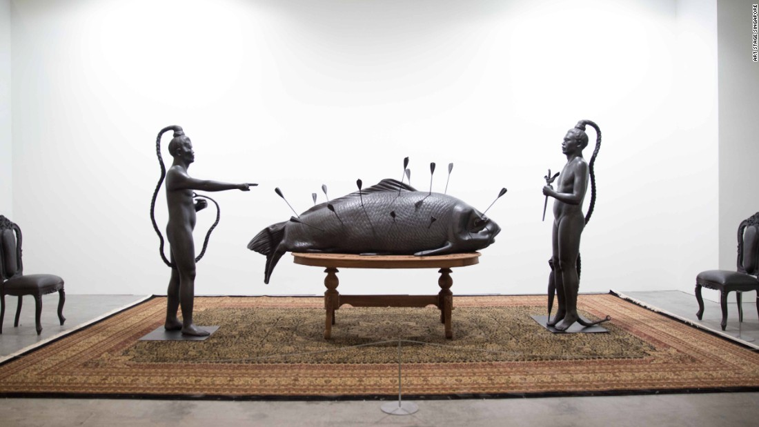 The Indonesian artist's work is a mixed-media installation primarily constructed of cast aluminum.