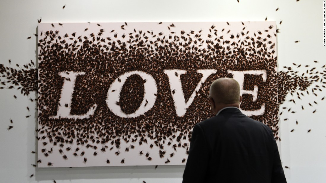 The Thai artist's <em>Sweet Word </em>series saw words such as LOVE, LIFE and FAITH constructed using plastic cockroaches.