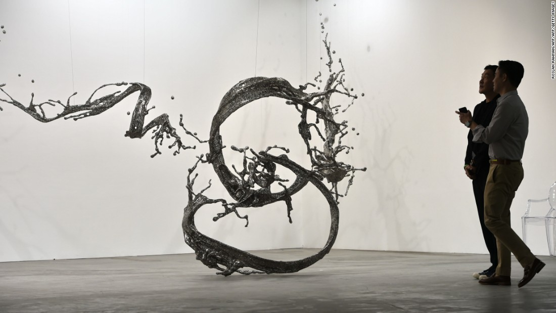 The Chinese artist uses stainless steel to create stunning sculptures based on water formations.