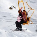 iran ski woman waving