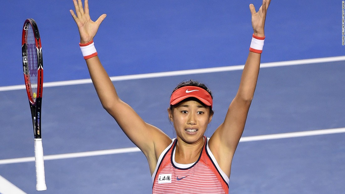 Zhang Shuai's jubilant celebration has become a common sight at the 2016 Australian Open.