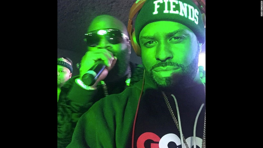"DJ Funkmaster Flex, right, <a href=""https://www.instagram.com/p/BA9Jo0UwQ1k/"" target=""_blank"">takes a selfie</a> with rapper Rick Ross on Monday, January 25."