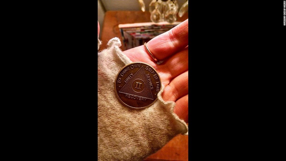 Rachel recently received this coin from AA as a token to commemorate her two years of being sober.
