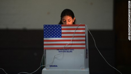 A Sun Valley resident votes at the polling station located at Our Lady of The Holy Church on election day at the Sun Valley's Latino district, Los Angeles County, on November 6, 2012 in California. AFP PHOTO /JOE KLAMAR        (Photo credit should read JOE KLAMAR/AFP/Getty Images)