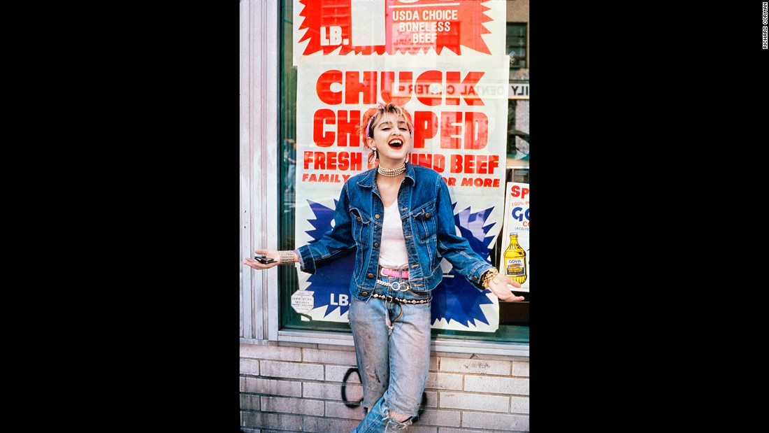 Madonna stops in front of a bodega on the Lower East Side.