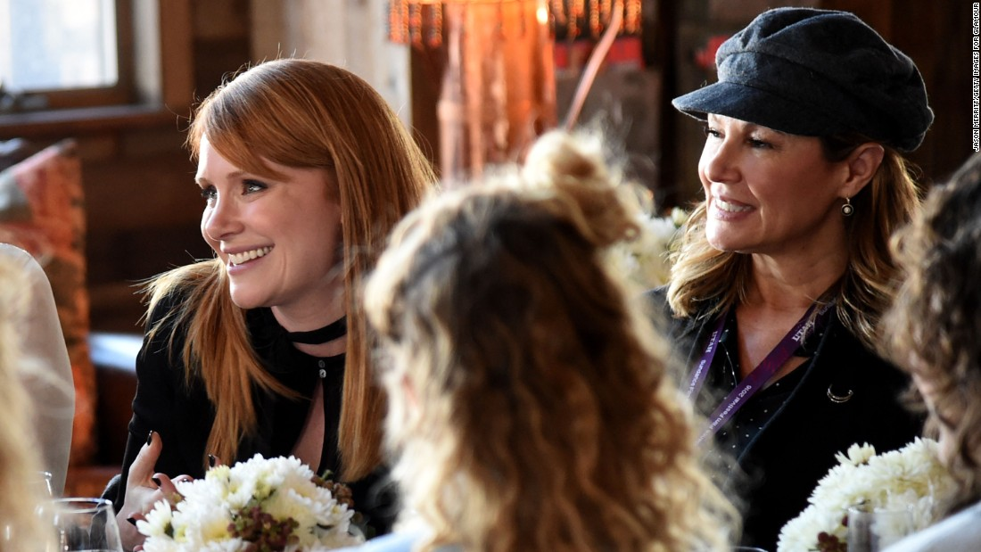 "Actress Bryce Dallas Howard (""Jurassic World""), left, and producer Maria Cuomo Cole attend Glamour's Women Rewriting Hollywood Lunch on Tuesday in Park City. The event was co-hosted by ""Girls"" creator Lena Dunham."
