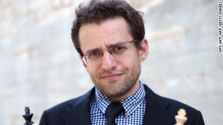 Armenia's Levon Aronian poses during the Alekhine Memorial chess tournament on April 23, 2013 in Paris. The tournament is a 10-player single round competition, with the first half held in Paris from April 20 to 25, and the second half in the Russian State Museum in St. Petersburg from April 26 to May 1st. AFP PHOTO / THOMAS SAMSON        (Photo credit should read THOMAS SAMSON/AFP/Getty Images)