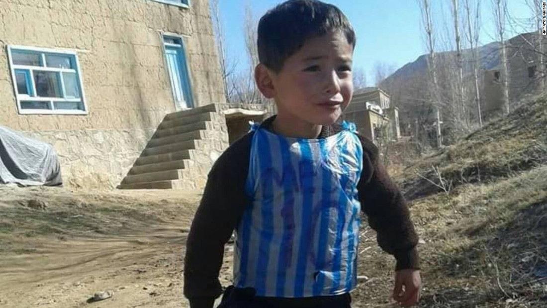 """He kept crying for days, asking for the shirt, until his brother Hamayon helped him make one from the plastic bag to make him happy,"" Ahmadi said. ""He stopped crying after wearing that plastic bag shirt."""