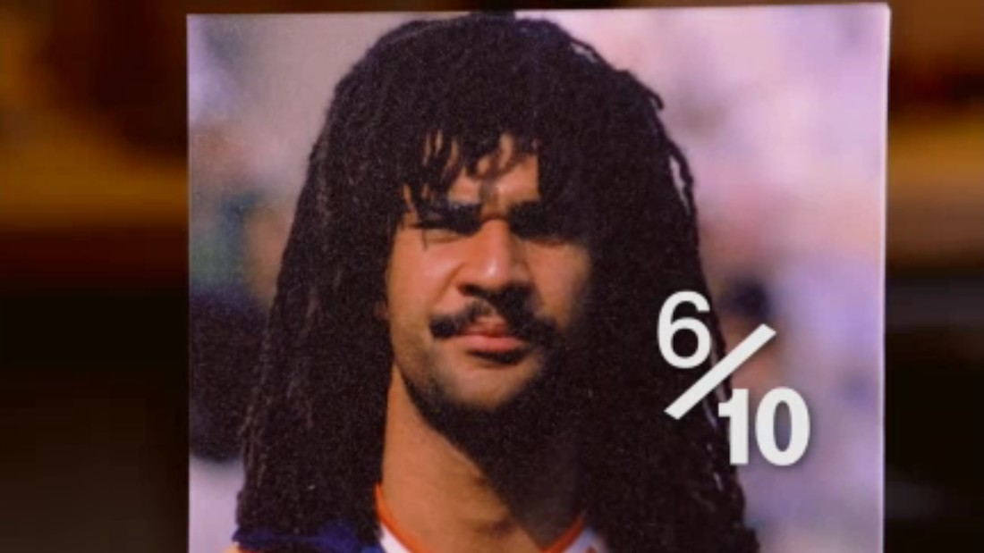 "There's no doubt Hart admires the flowing locks of Dutchman Ruud Gullit. ""Confident,"" he says.  ""Being able to play like that, with your eyes basically covered, and still be as good as him: confident. It's not that bad -- 6/10.""<br />"