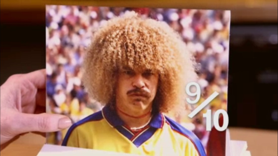 "Hart is in awe at the sight of Carlos Valderrama. ""Amazing...that is amazing ... yeah, amazing. It's a 9/10. It is terrible, but he worked it."" Today, the likes of Marouane Fellaini and David Luiz try in vain to continue the Colombia midfielder's legacy. In truth, he has no hair apparent.<br />"