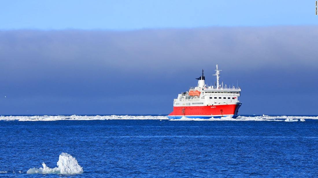The MS Expedition was originally built as a car ferry, but now traverses Arctic and Antarctic waters as a cruise ship operated by Canada-based G Adventures, which offers environmentally sensitive trips.