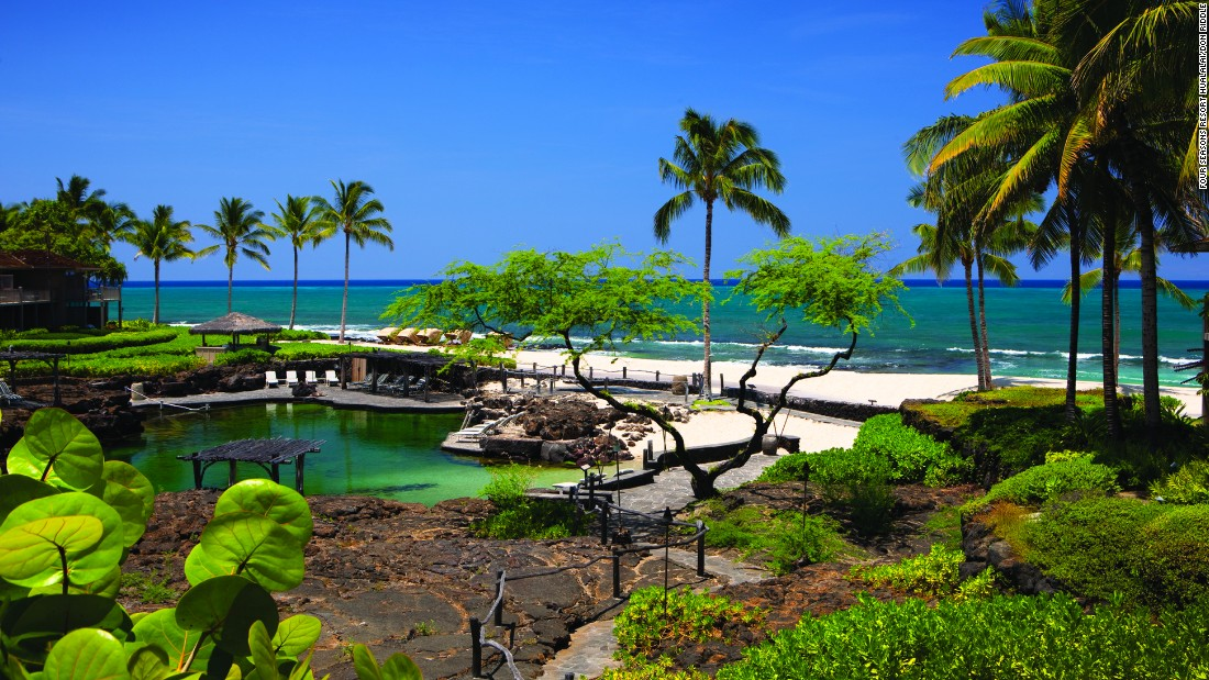The Four Seasons Resort Hualalai in Ka'upulehu showcases the beauty of Hawaii. Located on the North Kona Coast of the Big Island, the resort features the unique King's Pond, a pool whittled from lava rock and stocked with more than 4,000 tropical fish.