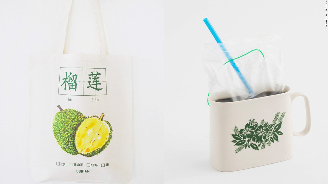 Looking for a souvenir from Singapore? Here are some unique products actually designed in Singapore. On the left is a tote bag celebrating the nation's love for durians and on the right is a kopi (coffee) mug -- takeaway kopi in Singapore still comes in a plastic bag. Both items can be purchased at Gallery & Co.