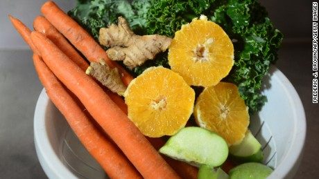 ruit and vegetables which make a beverage called 'J Bates', which contains oranges, green apples, carrots, ginger and kale, are displayed before juicing at the Silver Lake Juice Bar on September 17, 2013 in the Silver Lake district of Los Angeles, California. In the past two to three years Juice Bars have been growing in popularity and juice cleansing has become a 5 billion dollar industry nationwide, appealing to those who want to lose weight and 'detox' their bodies. AFP PHOTO/Frederic J. BROWN (Photo credit should read FREDERIC J. BROWN/AFP/Getty Images)