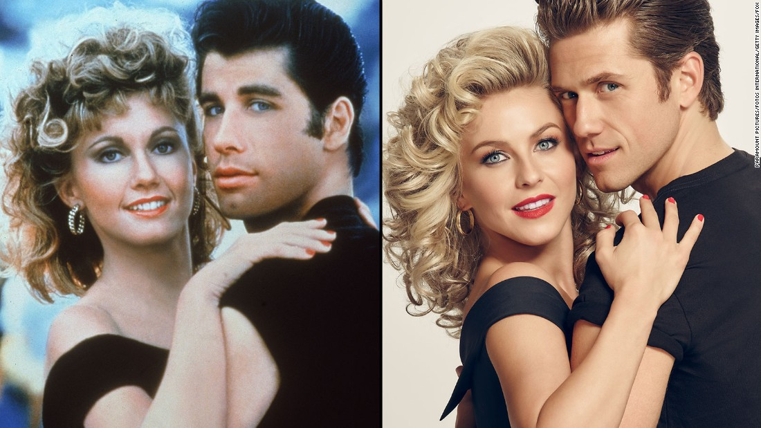 """Grease: Live"" aired Sunday night on Fox to rave reviews on social media. Olivia Newton-John and John Travolta played the protagonists, Sandy and Danny, in the 1978 movie; Julianne Hough and Aaron Tveit took on the roles in ""Grease: Live."" Click through to compare the stars of the film with the TV production."