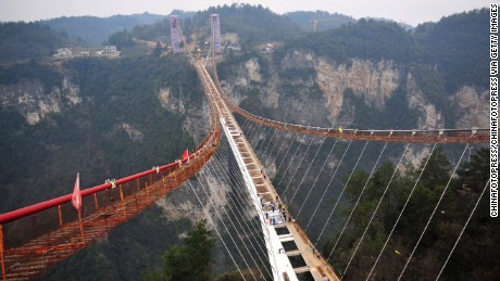 Dramatic first look at world's highest, longest glass-bottom bridge