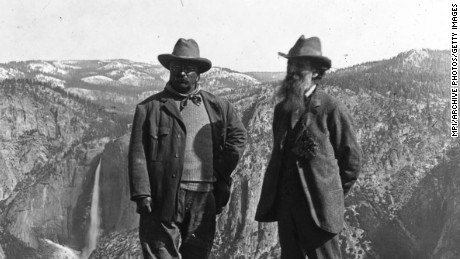 Conservationist John Muir (right) showed President Theodore Roosevelt the wonders of Glacier Point in Yosemite, California, circa 1903.