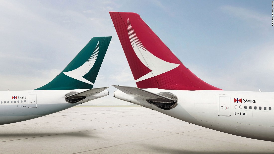 The new design is a white-on-red version of Cathay Pacific's logo -- an attempt to bring the identities of the sister brands closer together.
