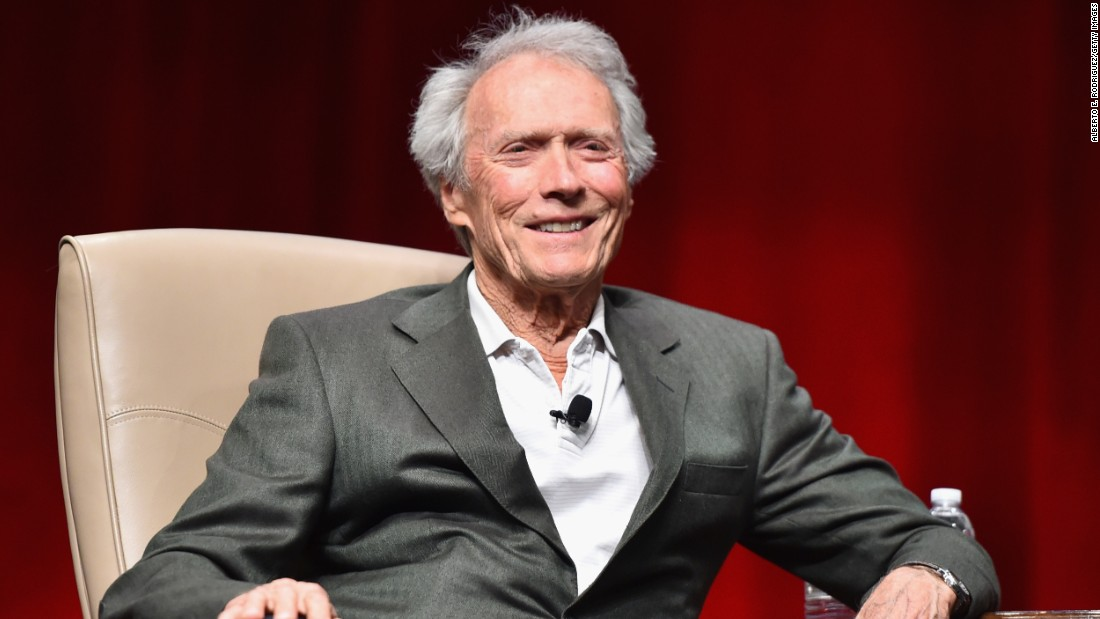 "The veteran actor and ""American Sniper"" director  speaks onstage during a tribute to him at CinemaCon, the official convention of the National Association of Theatre Owners, on April 22, 2015 in Las Vegas."