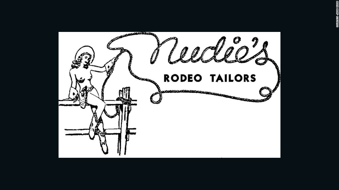 "The naked cowgirl label was based on Bobbie. ""My grandmother came out of the bedroom one evening and she had on her hat and her boots and she said: 'Nudie, when do I get the rest of my outfit?'"" according to Jamie Nudie.  ""So in the 1963 logo she got her Bolero. Anything pre-Bolero means the naked cowgirl label is from 1947 to 1963."""