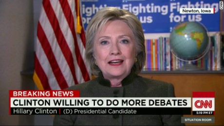 hillary clinton add more debates intv blitzer tsr_00004414