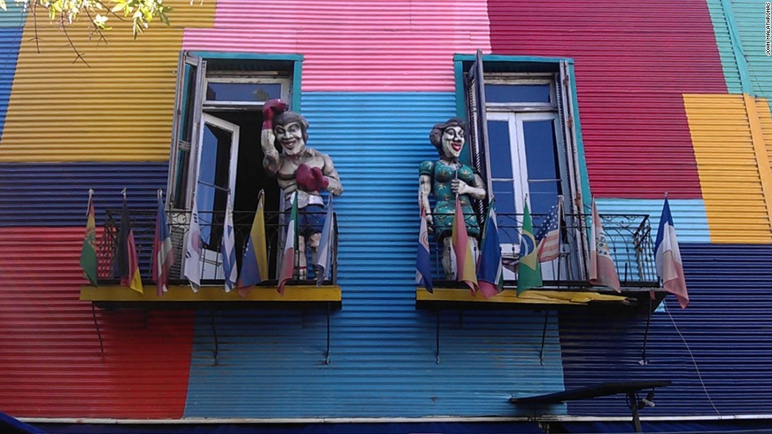 Nothing is subtle in La Boca. Brightly painted walls, caricature figurines and gaudy graffiti vie for attention.