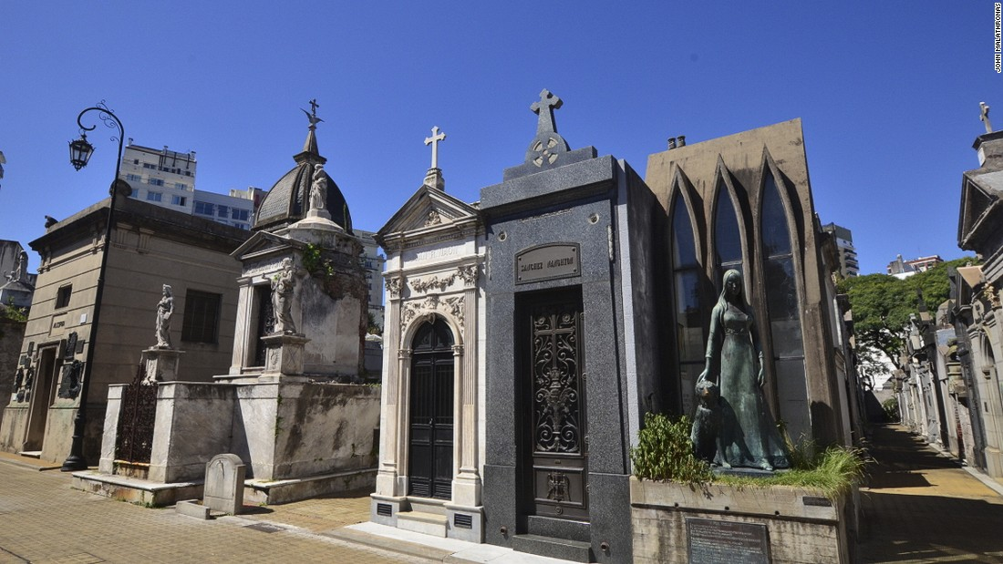 Evita Peron's grave -- she's buried under her maiden name, Duarte -- has turned Recoleta cemetery into the top attraction in Buenos Aires.