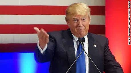 Donald Trump speaks during a campaign rally raising funds for US military veterans at Drake University in Des Moines, Iowa on January 28, 2016.  US Republicans scrambling to win the first contest in the presidential nomination race were gearing for battle at high-profile debate in Iowa, but frontrunner Donald Trump is upending the campaign by defiantly refusing to attend. Trump's gamble has left the presidential race in uncharted waters just days before Iowans vote on February 1, insisting he will not back down in his feud with debate host Fox News.Instead,  the billionaire has doubled down, hosting a rogue, rival event for US military veterans at the same time that his own party is showcasing its candidates for president to all-important Iowa voters.  / AFP / William EDWARDS        (Photo credit should read WILLIAM EDWARDS/AFP/Getty Images)