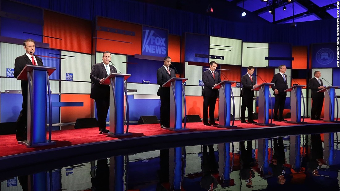 Republican presidential candidates, from left , Ohio Gov. John Kasich, Jeb Bush, Sen. Marco Rubio, Sen. Ted Cruz, Ben Carson, New Jersey Gov. Chris Christie and Sen. Rand Paul join the Republican presidential debate sponsored by Fox News in Des Moines, Iowa, on Thursday, January 28.