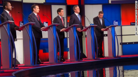 Republican Presidential candidates participate in the Republican Presidential debate sponsored by Fox News at the Iowa Events Center in Des Moines, Iowa on January 28, 2016.