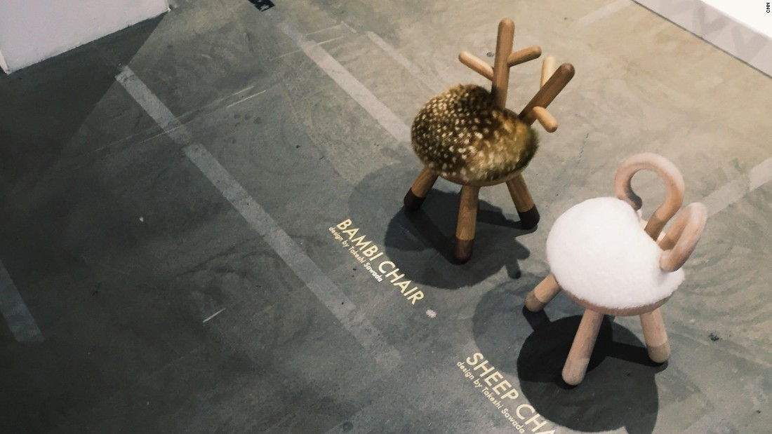 The cutest design on display -- and a big favorite on Instagram -- was these two wildlife-inspired children's stools by Japanese designer Takeshi Sawada.