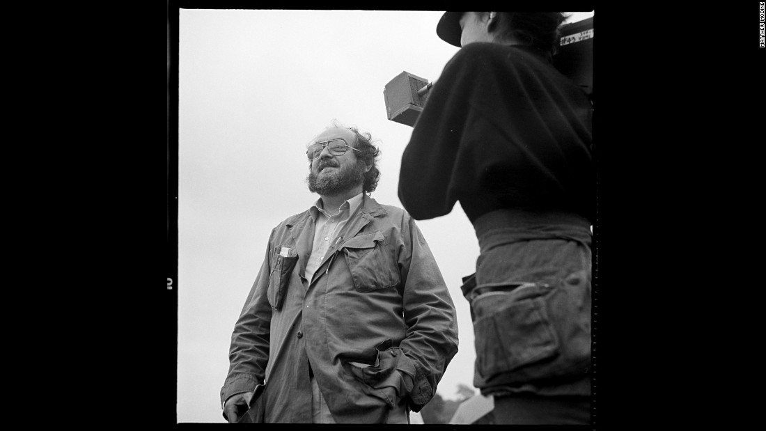 "Kubrick during filming in summer 1986. ""Stanley is amused and a bit embarrassed that Vivian Kubrick and I are both capturing his image at the same time,"" Modine said. ""Vivian is filming him for what would become an uncompleted documentary about her father and the making of the film."""