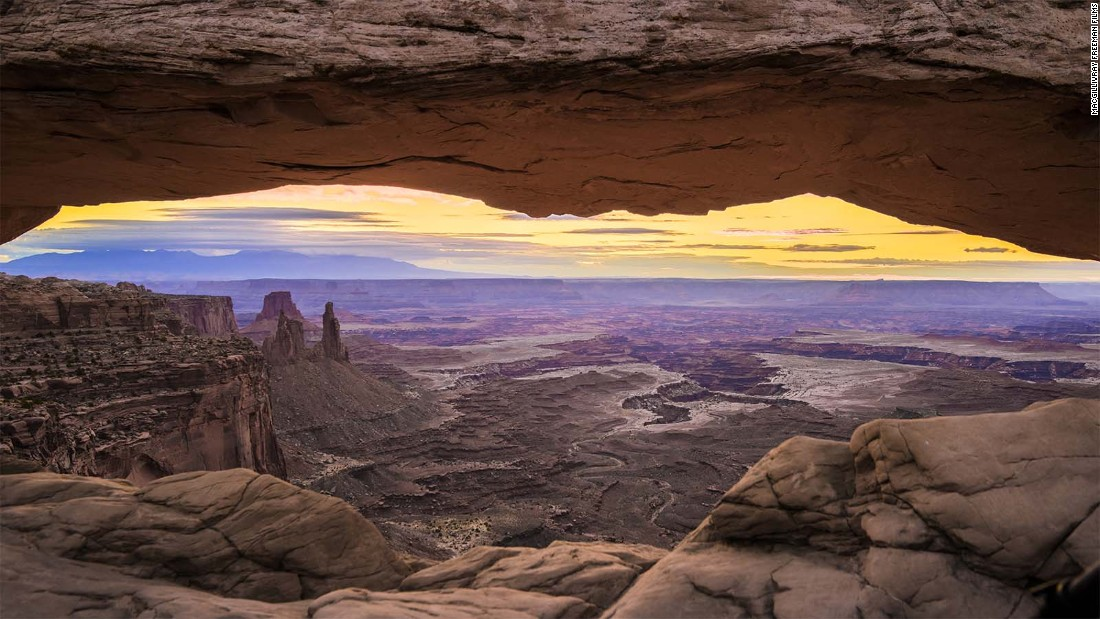Mesa Arch overlooks Canyonlands National Park in Utah, another site featured in the IMAX film, which will be shown in 60 countries.