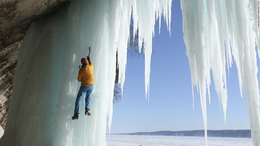 Legendary mountaineer Conrad Anker is featured in the film. One of his adventures involves ice climbing at Pictured Rocks National Lakeshore in Michigan.